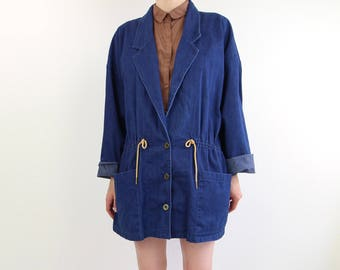 VINTAGE Denim Jacket Drawstring Dark Blue Jean