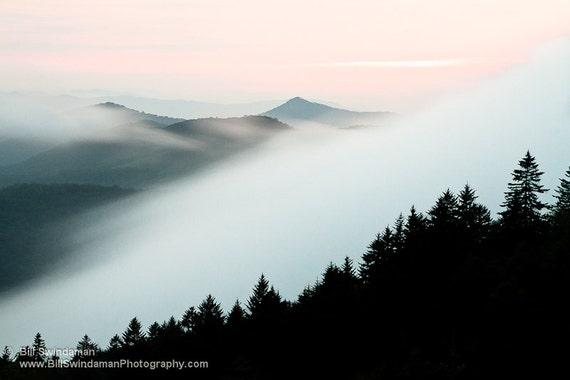 Nature Landscape Photograph - Foggy Blue Ridge Mountain Sunset