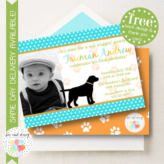 Dog Dog Invitation, Dog Birthday Invitation, Dog Party, Boy First Birthday, Boy Birthday, Dog Invite, Dog Photo Invitation