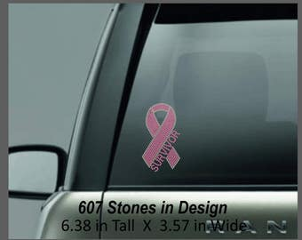 Breast Cancer Rhinestone Decal, Breast Cancer Survivor Ribbon, Awareness Ribbon