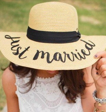 CC Brand - Just Married Embroidered Floppy Beach Hat - Sun Hat - Summer - Lake