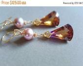 SPRING SALE Ametrine and Mauve Pearl Gemstone Drop Earrings Gold Filled Bridal Earrings Wedding Jewelry
