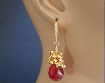 20% Off Mothers Day Sale Red Topaz Drop Earrings with Gold Pyrite Cluster Earrings Gift for Her