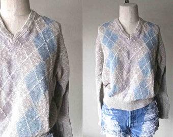 Vintage 80s slouch sweater SAKS FIFTH AVENUE argyle linen cotton v-neck - S/M
