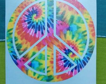 Tie Dyed Peace Sign Swirly Graphic Vinyl Sticker Decal Hippie Sticker Festival Sticker Peace Sign Sticker