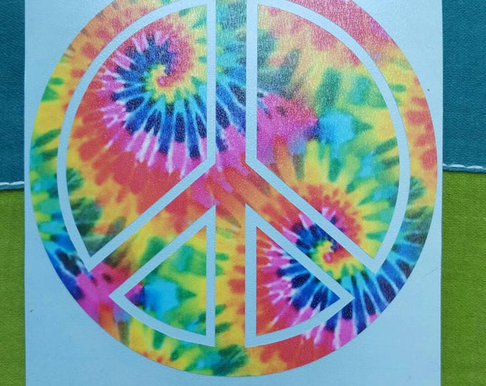 Tie Dyed Peace Sign Swirly Graphic Vinyl Sticker Decal Hippie Sticker Festival Sticker Peace Sign Sticker