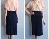 25% off SALE // 1940s Skirt // Navy Rayon Pencil Skirt // vintage 40s skirt
