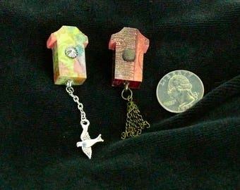 OOAK Birdhouse Magnet Set, Handmade, from Bluebird Creations, Item #2203