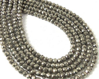 Pyrite, 3.5mm - 4mm, Rondelle, Microfaceted, Natural Gemstone Beads, Untreated, Very Small, 13 Inch Strand - ID 2312