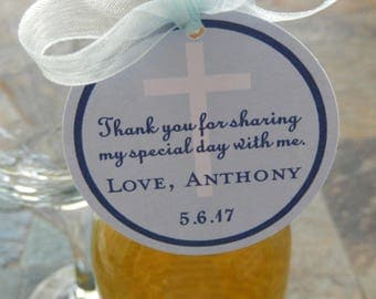 "Baptism or Christening or 1st Communion Custom Thank You 2"" Favor Tags - For Mini Wine or Champagne Bottles - Cross Party Favors - (60) Tags"