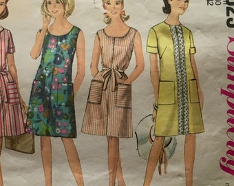 60s Simplicity 7025 Summer A-Line Dress Sleeveless or Cuffed Sleeves Size 40 Bust 42