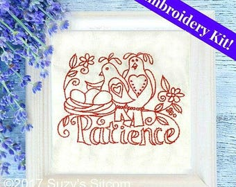 embroidery, kit, redwork, love, birds, funny, needlework, red, easy embroidery, pattern