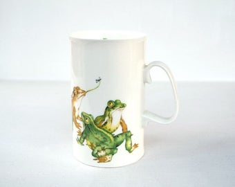 English mug frogs Mud Larks Cherry Denman Dunoon Ceramics England vintage mug gift for her white green beige frog lovers collectible