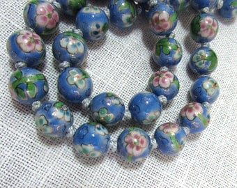 """Chinese Hand Painted Porcelain Bead Necklace - Floral design on blue - 25"""" long - ca 50s"""