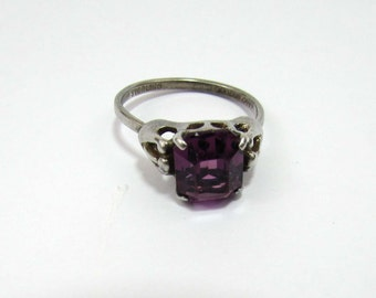 "Sarah Coventry Sterling Ring - Solitare Amethyst Stone - ""SARAH COV"" 1960s - adjustable 7-8"