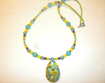 Turquoise And Yellow Sea sediment Jasper