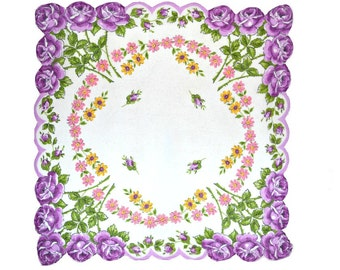 VINTAGE HANKIE Purple Roses on Bright White Field, Rose Border Scalloped Shaped Hem Corded 1950s  Excellent Condition