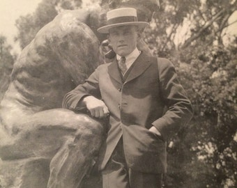 Antique Photo - Dapper Man in Park with Boater Hat - The Thinker Sculpture - Rodin - Vintage Photo - San Francisco