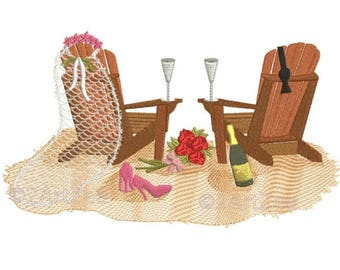 Beach Wedding Bliss Machine Embroidery Design Couple Nuptials Sand Chairs Shoes Veil Bowtie Champagne Flowers
