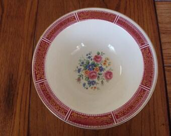 Homer Laughlin Eggshell Red & Gold Filigree Bowl