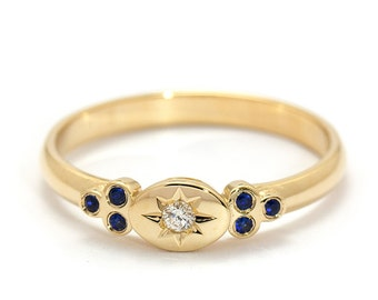 Dainty Diamond Ring - Small Diamond Ring - Tiny Engagement Ring - Sapphire Promise Ring - Diamond Promise Ring - Gold Star Ring