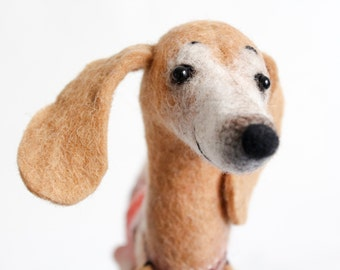 Felt  Dog Dachshund - Meggie, Art Toy, Felted Stuffed Toy Felted animal Dog. Soft toy dog. caramel, cream, honey. SPECIAL ORDER for Kirsten.