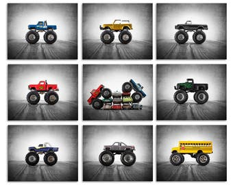 Monster Truck Wall Art,  photo prints set of 9, Nursery Decor, Rustic Decor Toy Cars, Baby room ideas, Boys Room Decor,