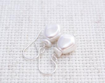 Keishi White Pearl Earrings, Sterling Silver, Swarovski Pearl, Bridal Earrings, Wedding Earrings, Handmade Pearl Earrings