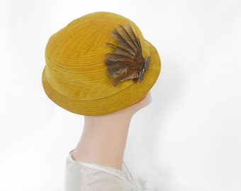 Vintage velvet hat, gold with feathers, Small, Madcaps