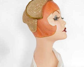 Vintage Gage hat, gold with rhinestones, velvet trim