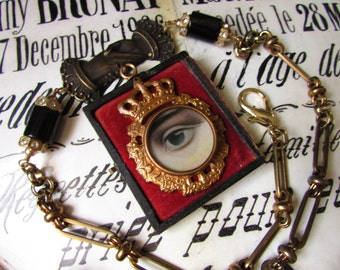 Madonna Enchanted Victorian necklace mourning lovers eye adjustable one of a kind crown evil eye velvet jewelry assemblage all seeing