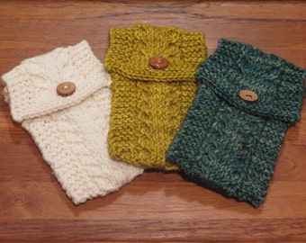 Merino Hand Knit Cabled Cell Phone Pouch- natural, ochre, or fresco
