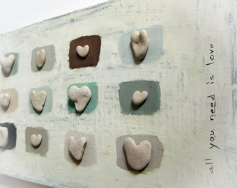 Unique Gift Idea, House Blessings, Home Blessings, Hearts, Pebbles Art, Beach Heart Stones, Unique Wall Decoration Stones, Medbeachstones