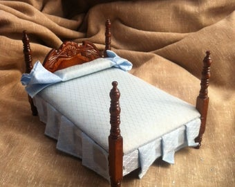 Vintage Dollhouse Furniture - Miniature Post Bed with Satin Bedspread