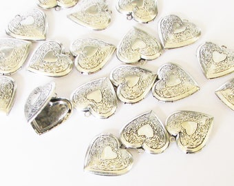 Vintage Inspired Heart Lockets, Craft Lockets, Antique Finish, Prairie Hearts