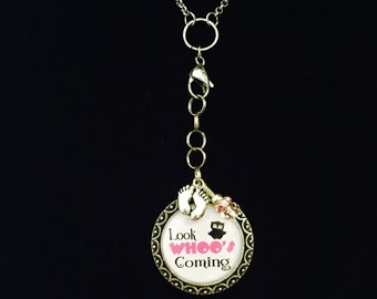 Surrogacy Baby Look Who's Coming Owl Pink Expecting mommy Photo Pendant Necklace, Jewelry Charm, Surrogacy Gift