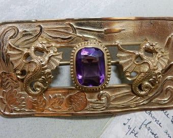Antique Victorian Gold Brooch Sash or Scarf Pin w/ Winged Dragons    OAE25
