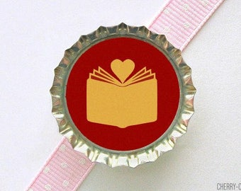 Book Love Bottle Cap Magnet - book theme baby shower favor, book lover gifts, librarian gifts, for writers, book club gift, for librarian