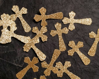 Confetti, 100 ct Glitter Cross Shaped Confetti Party Decor Table Decorations, MANY COLORS AVAILABLE