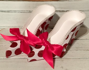 Pair of White with Red Glitter Polka Dot High Heel Paper Shoes, Gift Box, Favor Box, Decoration, Original Design