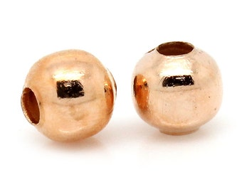 1000 pcs Rose Gold Plated Alloy Smooth Ball Spacer Beads- 4mm
