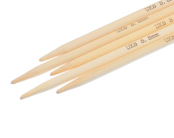 """50 pcs. Natural Bamboo Double Pointed DP Knitting Needles - 5 7/8"""" - 15cm - UK Size 5 - 5.5mm"""