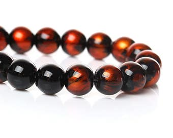 20 pcs Black and Orange Pearl Swirl Glass Round Loose Beads - 8mm - Hole Size: 1.5mm