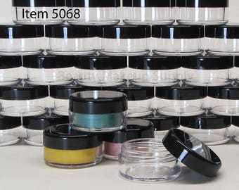 200 BMS Cosmetic Jars 10 Gram Plastic Beauty Containers (Black Lids) 5068-200   FREE US Shipping