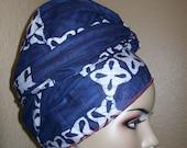 Indigo Blue Batik African head wrap, Head Scarf Fabric, 72 inch by 22 inch/ DIY Head Wrap fabric/ African head wraps/ Rasta Head Wraps