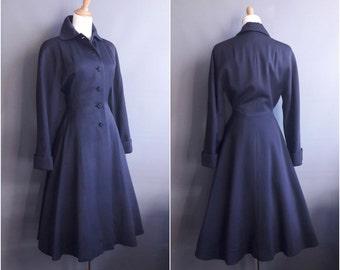 1940s princess coat Zelinka Matlick new look coat fitted coat fit and flare navy blue gabardine wool 50s coat 1950s princess coat 40s coat