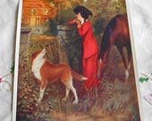 Reserved OLD HOMESTEAD Nostalgic Litho Print Lady in Red Outfit Horse Collie Dog Abandoned House, Rich Colors Signed Joseph Warren, 6 x 8