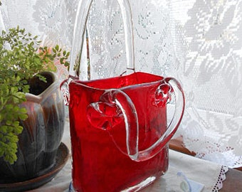 Fab RED GLASS PURSE Vase, Rich Ruby Body Clear Handles Ripples Mold Marks, 5th Ave Crystal Art Design, Lovely Mother's Day or Birthday Gift