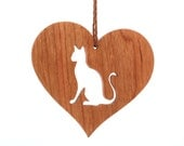 Wood Siamese Cat Ornament, Wooden Heart Shaped Pet Ornament, Christmas Siamese Cat Decoration, Cherry