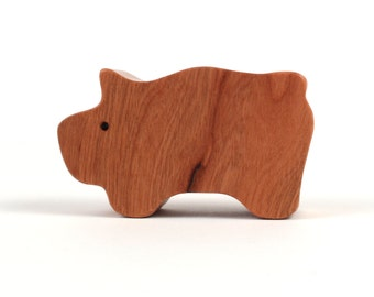 Small Wooden Pig Toy Waldorf Wood Country Farm Animal Toy Pig Figurine Wood Toy Pig Cherry